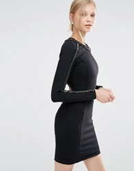 Forever Unique Etta Long Sleeve Bodycon Dress With Chain Detail Black