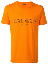 Balmain Logo T Shirt Yellow Orange