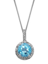 Lord And Taylor Sterling Silver Blue White Topaz Pendant Blue Topaz Silver
