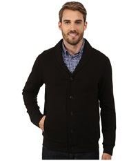 Perry Ellis Quilted Shawl Button Front Cardigan Black Men's Sweater