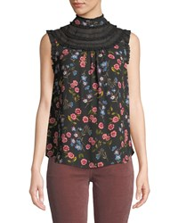 Kate Spade Meadow Lace Trim Sleeveless Top Black