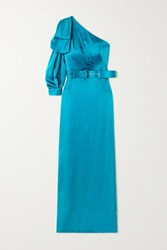 Peter Pilotto One Sleeve Bow Detailed Belted Satin Gown Blue