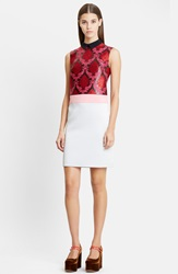 Mary Katrantzou Sleeveless Damask Jacquard Sheath Dress Mint Rose