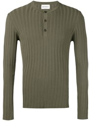 Dondup Button Up Ribbed Sweatshirt Men Cotton M Green