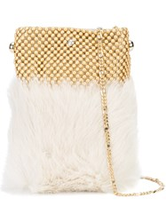 Laura B Soft Mobile Bag Women Leather Rabbit Fur Brass One Size White