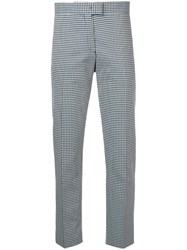Paul Smith Ps Cropped Check Print Trousers Blue