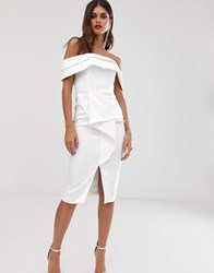 Lavish Alice Bardot Midi Dress With Origami Folded Detail In White