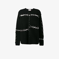Christopher Kane Ring Embellished Ribbed Cardigan Black