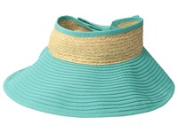San Diego Hat Company Rbv001os Ribbon Visor W Adjustable Raffia Bow Closure Turquoise Caps Blue