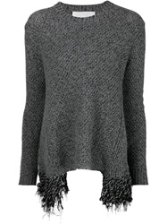 Thakoon Addition Frayed Hem Sweater Grey