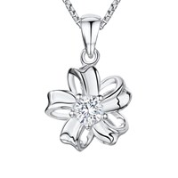 Jools By Jenny Brown Cubic Zirconia Looped Bloom Necklace Silver