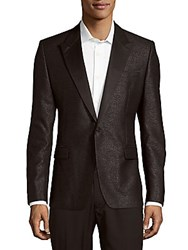 Versace Long Sleeve Textured Sport Coat Charcoal