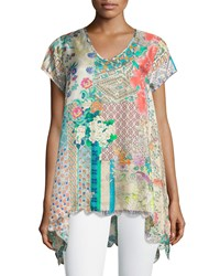 Johnny Was Azzy Printed Trapeze Top Women's Multi
