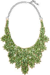 Valentino Crystal And Silver Tone Necklace Bright Green