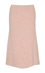 Orley Ribbed Cashmere A Line Skirt Pink