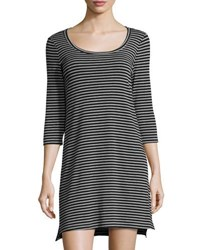 Three Dots Scoop Neck Striped Dress Black