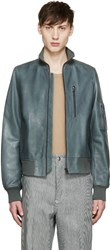 Acne Studios Green Leather Adam Bomber Jacket