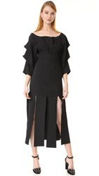 A.W.A.K.E. Draped Sleeve Dress Black
