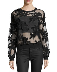 Romeo And Juliet Couture Floral Embroidered Crew Neck Top Black
