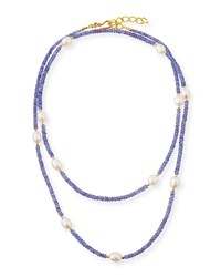 Dina Mackney Long Pearl And Tanzanite Necklace Purple