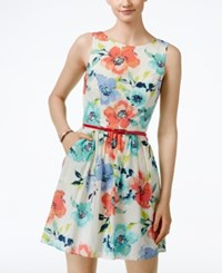 Speechless Juniors' Floral Tank A Line Dress Coral Black