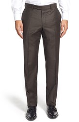 Men's Big And Tall Nordstrom Flat Front Houndstooth Wool Trousers Brown