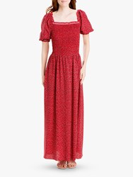 Max Studio Floral Square Neck Smocked Maxi Dress Scarlet