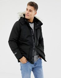 Hollister All Weather Faux Fur Trim And Lining Hooded Parka In Black Black Grey Faux Fur