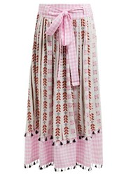 Dodo Bar Or Antonella Embroidered Cotton Skirt Pink Multi