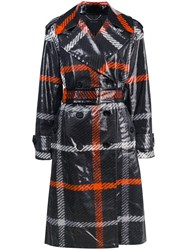 Marc Jacobs Plaid Print Belted Trench Coat Black
