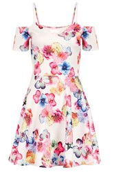 Quiz Cream Floral Print Strap Bardot Dress