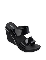 Melissa Ankle Buckle Wedge Sandals Black White