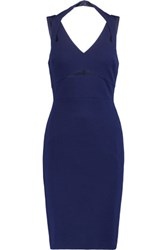 Bailey 44 Cutout Mesh Trimmed Stretch Jersey Dress Indigo