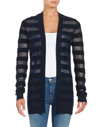 Michael Michael Kors Mesh Striped Cardigan New Navy