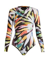 Mara Hoffman Zip Front Marimba Print Rash Guard Black Multi