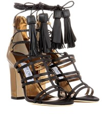 Jimmy Choo Diamond 100 Satin And Leather Sandals Multicoloured