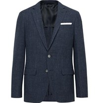 Hugo Boss Navy Hartley Slim Fit Checked Wool Cotton And Linen Blend Blazer Navy