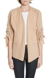 Brochu Walker Marlin Tie Sleeve Cashmere Cardigan Camel