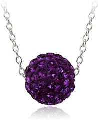 Lord And Taylor Crystal Studded Pendant Necklace Amethyst