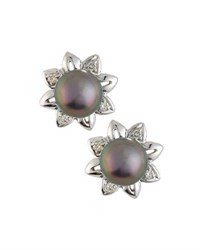 Belpearl 14K Akoya Black Pearl And Diamond Flower Stud Earrings