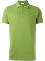 Sunspel Patch Pocket Polo Shirt Green
