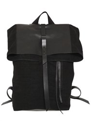 Isabel Benenato Linen Canvas And Leather Backpack