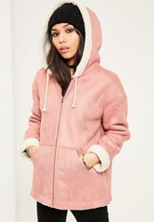 Missguided Pink Zip Through Faux Shearling Jacket Rose
