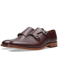 Grenson Ellery Double Strap Monk Shoe Burgundy Grain Leather