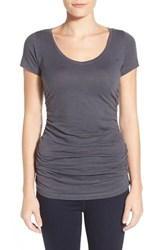 Women's Caslon Shirred V Neck Tee Grey Ebony