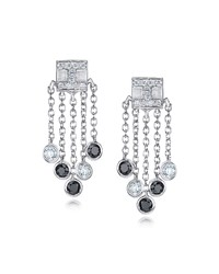 18K White Gold Tassel Moderne Short Fringe Diamond Earrings Ivanka Trump