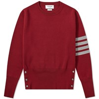 Thom Browne Milano Stitch Four Bar Crew Knit Red