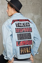 Forever 21 City Patched Denim Jacket Denim Washed