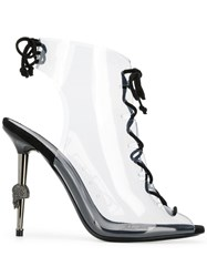 Philipp Plein Statement High Heel Booties Neutrals