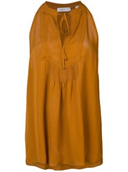 A.L.C. Sleeveless Tie Neck Blouse Women Silk 8 Brown